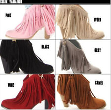 New Ladies Cowboy Faux Suede High Heels Ankle Fringe Tassels Western Boots Shoes