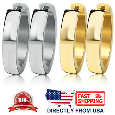 Women's Stainless Steel Oval Polished 4mm Hoop Huggie Earrings (Gold or Silver)