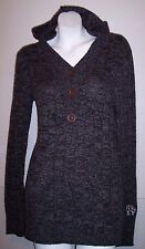 Roxy Sweater L Gray Stretch Knit Hoodie Tunic with Pockets Junior's Size Large