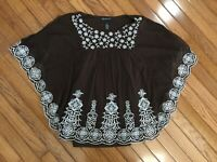 INC International Concepts Women's Boho Embroidered Top Blouse Size Petite S