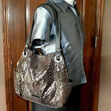 Fossil LLV Large Tote Shoulder Travel Bag Slouch Shopper Brown Snake Print Key