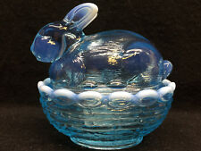 Blue Opalescent glass bunny rabbit on nest basket candy dish Easter eggs butter