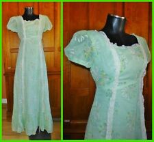 Vtg 70s Sheer Gauze Floral Lace Prairie Boho Hippie Wedding Party Maxi DRESS