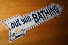 Out Sun Bathing Arrow Sign Tiki Beach Bar Tropical Pool or Beach Home Decor New