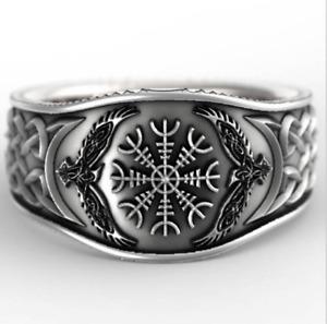 UNISEX Nordic mythology Viking Celtic compass retro graffiti plated silver Ring
