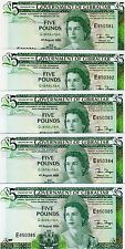 LOT GIBRALTAR, 5 x 5 pounds, 1988, Pick 21 (21b), QEII, UNC
