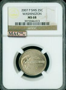 2007-P WASHINGTON QUARTER NGC MAC MS68 SMS PQ 2ND FINEST POP-17 SPOTLESS  *