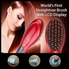 Hair Straightener Brush Ceramic Fast Electric Digital LCD Straightening Comb NEW