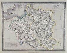 OLD ANTIQUE MAP POLAND c1852 by GEORGE PHILIP ORIGINAL HAND COLOUR