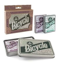 2 Deck Bicycle Retro Tin Autocycle 808 Standard Poker Playing Cards Purple Green