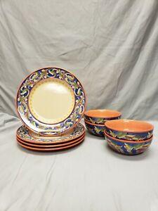 2004 Pfaltzgraff Villa Della Luna 4 Dinner Plates 4 Cereal Bowls