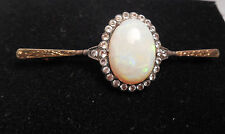 ANTIQUE OPAL SILVER PIN WITH SPINEL DIAMONDS