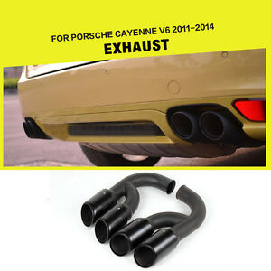 Black Exhaust System Muffler Pipes for Porsche Cayenne V6 Stainless Steel 11-14