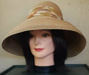 1950's Straw Sun Hat with chiffon printed band, 53cm circumference, by 'Otto ...
