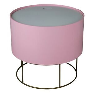 Wooden Top Gold Metal Wire Round Storage Basket End Side Table Home Furniture