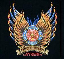 FIREMEN FIRE FIGHTER SHIELD EAGLE FLAMES WINGS RESCUE T-SHIRT W78