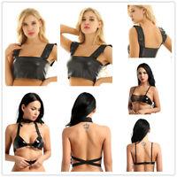 Fashion Women Sleeveless Summer Bustier Crop Top Vest Wetlook Leather Blouse Top