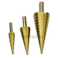 New 3pcs 4-12/20/32mm Large HSS Steel Step Cone Drill Titanium Bit Hole Cutter