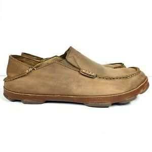 Olukai Moloa Men's Size US 9.5 Leather Loafers Shoes Brown 10128-2733