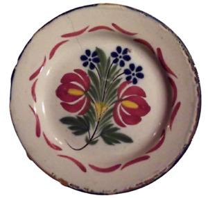 Ancienne assiette les Islettes Wally XIX Bouquet de fleurs pivoine bleuet