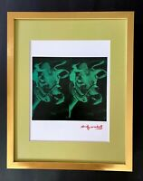 ANDY WARHOL + 1984 SIGNED 2 COWS POP ART MATTED TO BE FRAMED AT 11X14