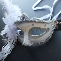 White Venetian Masquerade Mask w/Ostrich Feathers Party Prom Halloween Costume