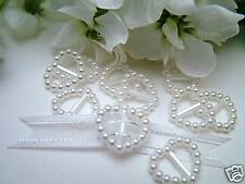 50 Pearl Ribbon Buckles/Sliders  Heart Shaped White