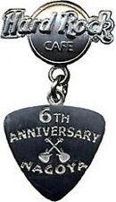 Hard Rock Cafe NAGOYA 2003 6th Anniversary PIN Guitar Pick Logo Silver