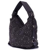 a56a7a9adb392 Trendy Glitzer XL Tasche Handtasche Shopper mit Strass Nieten in Schwarz