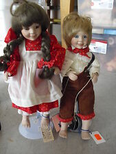 1989 Porcelain and Cloth Marian Yu Jack and Jill Boy and Girl Dolls 14""