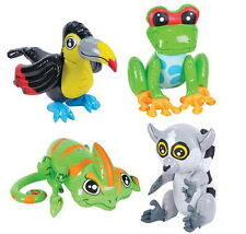 "4 24"" RAIN FOREST INFLATABLE ZOO ANIMALS FROG, TOUCAN, CHAMELEON, LEMUR INFLATES"
