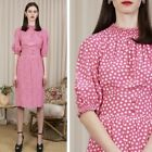vintage 70s VALENTINO musk pink silk confetti print waisted tea dress