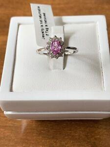 Pink Sapphire & Natural White Cambodian Zircon Size P