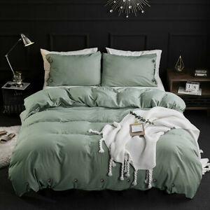 3 Piece Soft Down Quilt Cover Bedding Cover Sets ,Solid Button , Pea Green, King