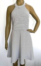 Derek Heart Size M Halter Dress Junior White/Black/Pink Stripped Print Dress NEW