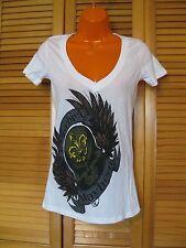 Printed V Neck T-Shirt, Mischief Mayhem Skull & Feathers, White , Size S