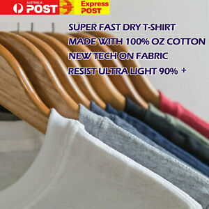 100% Cotton Fast Drying UV Protect Plain Blank Basic T-shirt Mens Womens Unisex