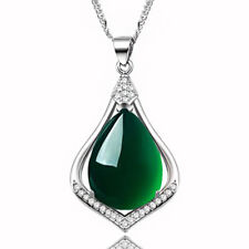 Womens Jewellery Silver Plated Necklace Pendant Chrysoprase Heart Filled