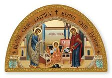 HOLY FAMILY MARY JOSEPH JESUS GOLD FOIL WOODEN PLAQUE / PICTURE - BLESS OUR HOME