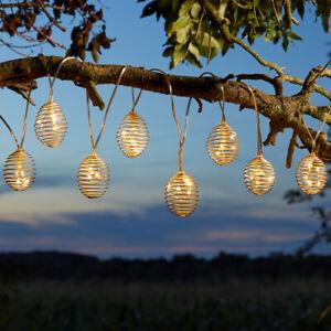 1.8m Hanging Solar Spiral LED Lantern Fairy String Lights Garden Outdoor Fence
