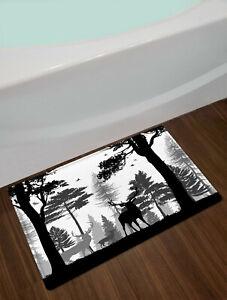 Black White Nature Forest Wild Animals Waterproof Shower Curtain Bathroom Set