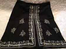 New York & Co Black Skirt Embrodiered Flowers Sequins Size 12