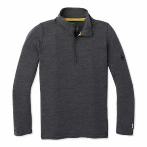 SmartWool Kids' Merino 250 Base Layer Zip T Gray Charcoal Heather Large