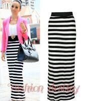 New Womens Stripe Black White Maxi Long Summer Jersey Casual Skirt