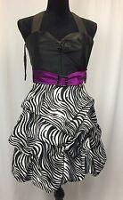 Womens Dress, Fiesta Brand Zebra Bottom  Strap tie, size Sm (Purple Strap)