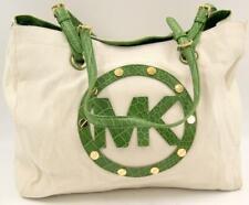 Michael Kors Women's Cream/Green Linen/Leather Purse Shoulder Bag