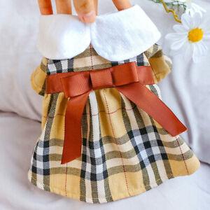 Pet Clothes Dog Cat Classic Plaid Skirt Puppy Maltese Student Bow Princess Dress