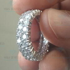 4Ct Two Row Simulated Moissanite Eternity Engagement Ring 14K White Gold Over