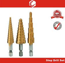 "3pcs Titanium Nitride Coated M2 HSS Step Drill Bit Set – 1/4"" Hex Shank"