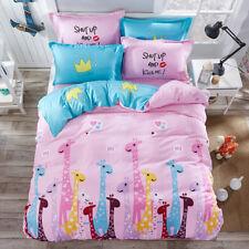 Cartoon Giraffes Print Pink Duvet Covers Set for Girls King Queen Twin Bedding